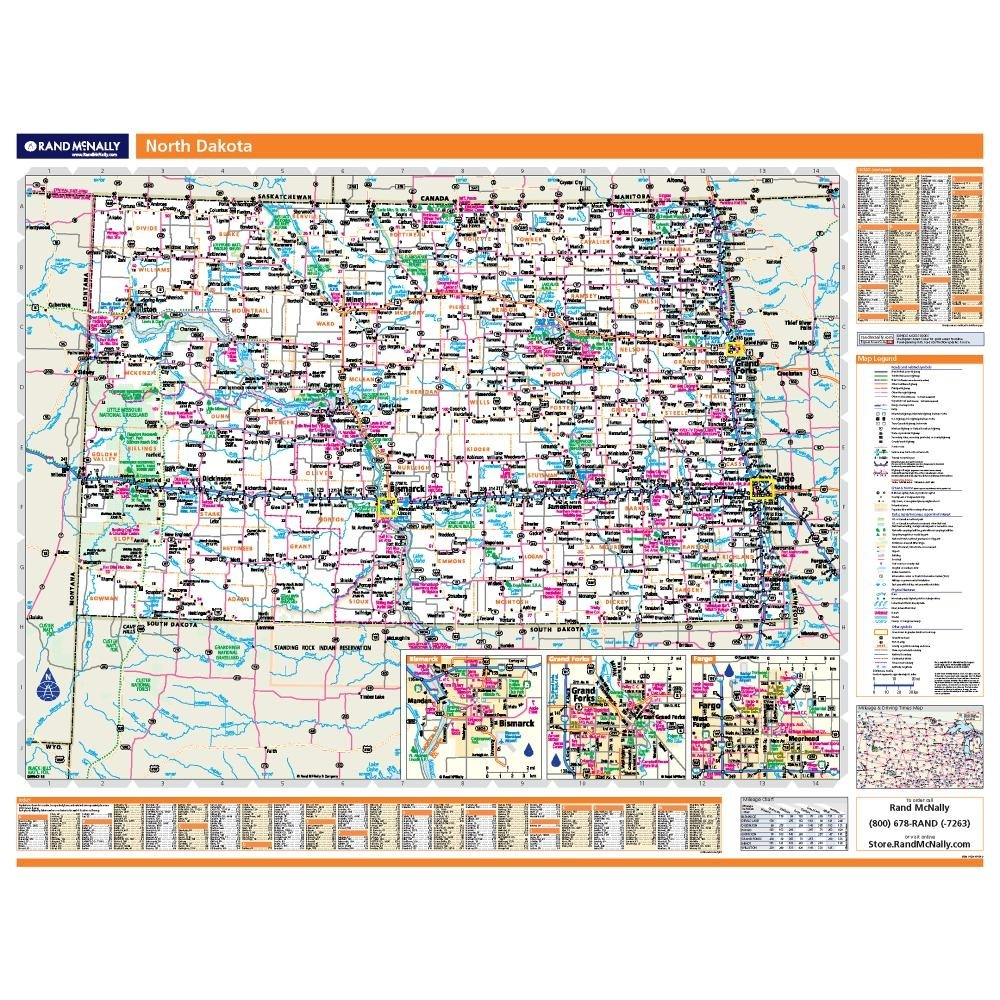 North Dakota Laminated State wall map