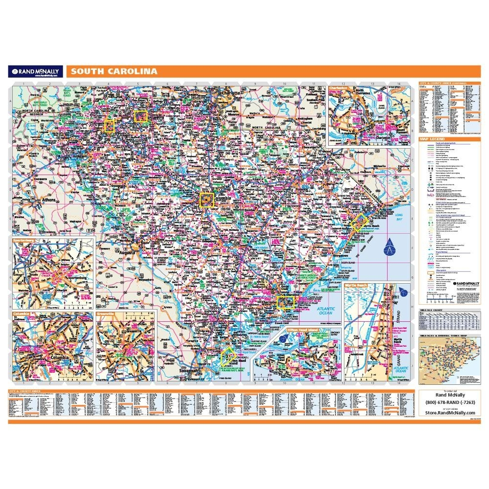South Carolina State Map With Counties And Cities.South Carolina Laminated State Wall Map