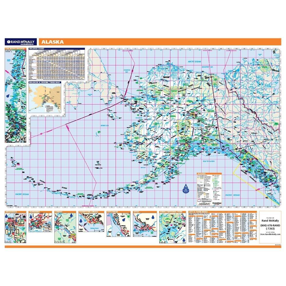 Alaska Laminated State Wall Map - Alaska city map