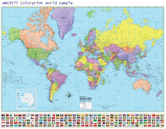 AMC Colorprint World Map 48 x 36 on west inies on a map of the world, i need a map united states, i need the color wheel, west part of the world,
