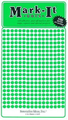 "600 Green 1/8"" map stick-on map dots"