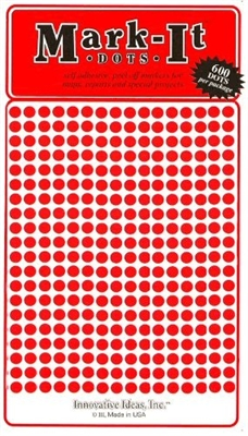"600 RED 1/8"" map stick-on map dots"