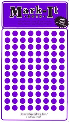 "600 Purple 1/4"" map stick-on map dots"