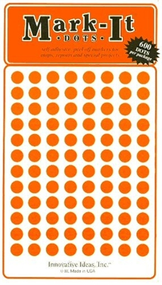 "600 orange 1/4"" map stick-on map dots"