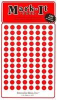 "600 red 1/4"" map stick-on map dots"