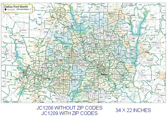 Dallas   Fort Worth Zip Codes major thoroughfares 22x34