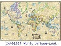 CAP91627 World Antique Wall Map