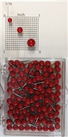 "Red, medium, round-head MAP PINS 100/box. 1/8"" head and 5/16"" shaft length."