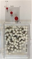 "White, medium, round-head MAP PINS 100/box. 1/8"" head and 5/16"" shaft length."