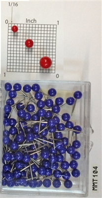"Blue, medium, round-head MAP PINS 100/box. 1/8"" head and 5/16"" shaft length."