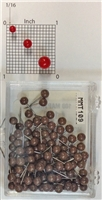"brown, medium, round-head MAP PINS 100/box. 1/8"" head and 5/16"" shaft length."