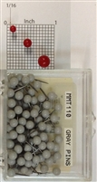 "Gray, medium, round-head Map Pins 100/box. 1/8"" head and 5/16"" shaft length."