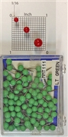 "Light Green, medium, round-head MAP PINS 100/box. 1/8"" head and 5/16"" shaft length."