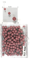 "Old Rose color, medium, round-head MAP PINS 100/box. 1/8"" head and 5/16"" shaft length."