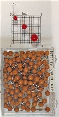 "Chocolate color, medium, round-head MAP PINS 100/box. 1/8"" head and 5/16"" shaft length."