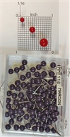 "Maroon color, medium, round-head Map Pins 100/box. 1/8"" head and 5/16"" shaft length."