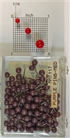 "Purple color, medium, round-head Map Pins 100/box. 1/8"" head and 5/16"" shaft length."