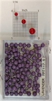 "Lavender color, medium, round-head Map Pins 100/box. 1/8"" head and 5/16"" shaft length."