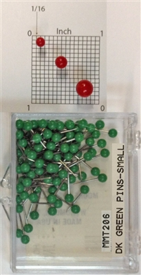 "Dark Green, small, round-head Map Pins 100/box. 1/16"" head and 5/16"" shaft length."