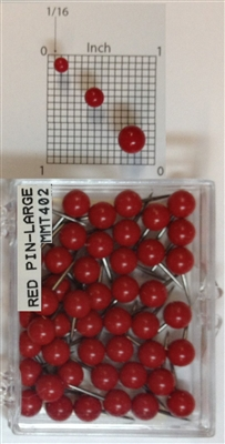 "400 Series Red, large, round-head Map Pins 50/box. 1/4"" head and 3/8"" shaft length."