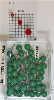 "400 Series Dark Green, large, round-head Map Pins 50/box. 1/4"" head and 3/8"" shaft length."