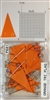 "P600 series orange, triangular ""pennant"" shaped map pins. 25 to box. 1/8"" clear headed pin"