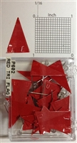 "P600 series red, triangular ""pennant"" shaped map pins / flags. 25 to box. 1/8"" clear headed pin"