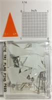 "P600 series white, triangular ""pennant"" shaped map pins / flags. 25 to box. 1/8"" clear headed pin"