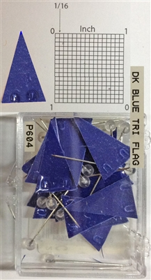 "P600 series dark blue, triangular ""pennant"" shaped map pins / flags. 25 to box. 1/8"" clear headed pin"