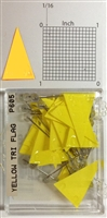 "P600 series yellow, triangular ""pennant"" shaped map pins / flags. 25 to box. 1/8"" clear headed pin"