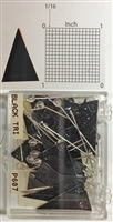 "P600 series black, triangular ""pennant"" shaped map pins / flags. 25 to box. 1/8"" clear headed pin"