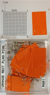 "#r600 series orange, rectangular shaped map pins / flags. 25 to box. 1/8"" clear headed pin"