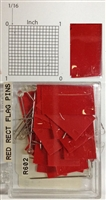 "#r600 series red, rectangular shaped map pins / flags. 25 to box. 1/8"" clear headed pin"