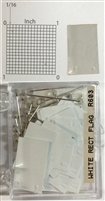 "#r600 series white, rectangular shaped map pins / flags. 25 to box. 1/8"" clear headed pin"