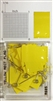 "#r600 series yellow, rectangular shaped map pins / flags. 25 to box. 1/8"" clear headed pin"