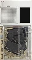 "#r600 series black, rectangular shaped map pins / flags. 25 to box. 1/8"" clear headed pin"