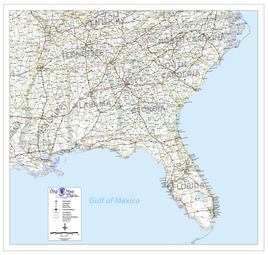 One Map Place SE United States - Map of southeast us