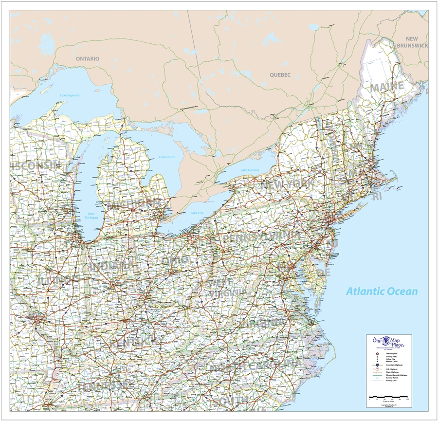 One Map Place Northeast United States