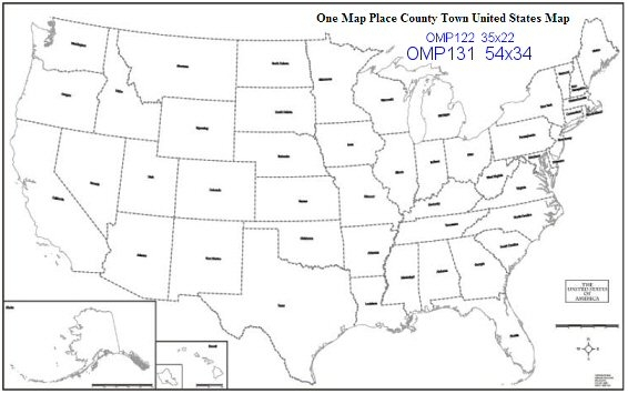 One Map Place Us Outline 35x22 - Map-of-us-outline