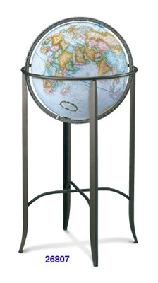 "TRAFALGAR 16"" INCH GLOBE BLUE RAISED PEWTER"