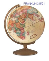 "FRANKLIN 12"" INCH GLOBE ANTIQUE RAISED-RELIEF"