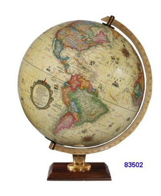 "CARLYLE 12"" INCH GLOBE ANTIQUE ILLUMINATED RAISED-RELIEF"