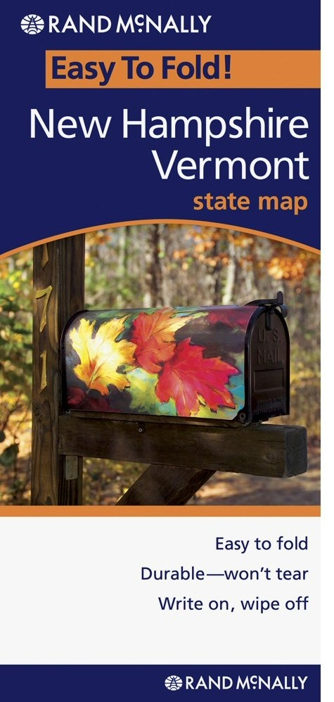 New Hampshire Vermont Easy To Fold Map - Rand mcnally easy to fold maps