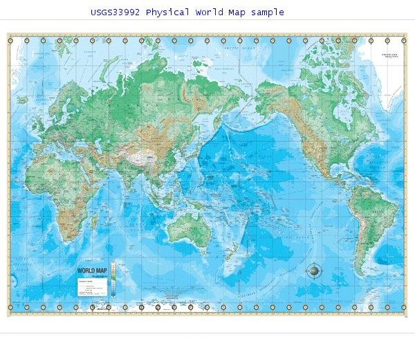 Usgs33992 Physical World 48 X 36