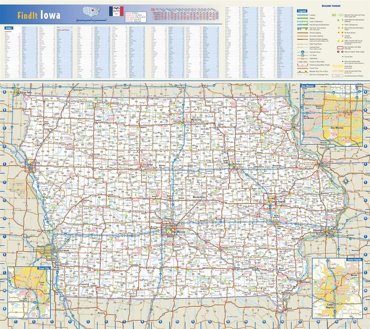 Iowa State Wall Map by Globe Turner 42 x 38 on