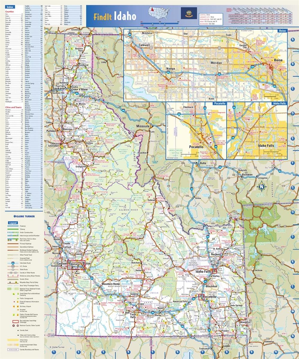 Idaho State Wall Map by Globe Turner 15 x 18 on