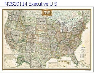 National Geographic U.S.Earth-toned Executive Map