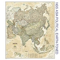 National Geographic Asia Political Earth-toned color