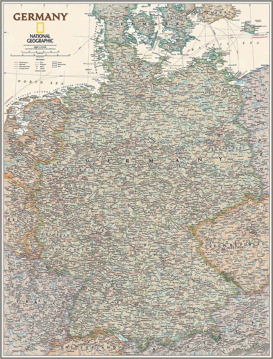 National Geographic Germany Political Earth-toned 23x30