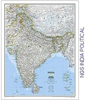 National Geographic map of India, ​Sri Lanka, Nepal, Bangladesh, Bhutan, Tajikistan